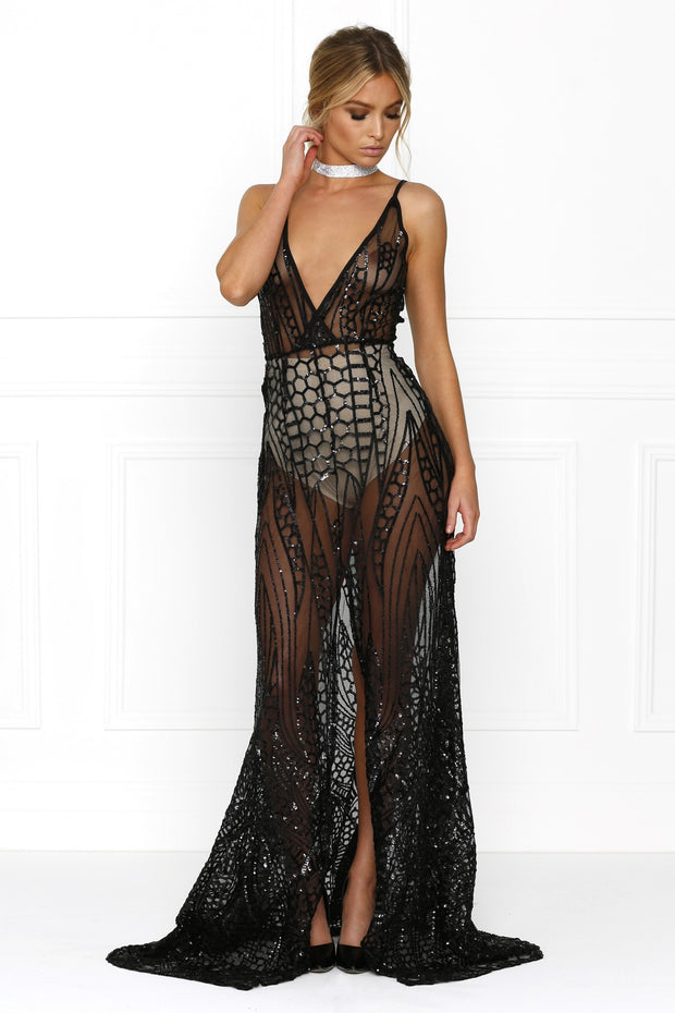 Honey Couture SIENA Black Sheer Sequin w Split Evening Gown Dress Honey Couture$ AfterPay Humm ZipPay LayBuy Sezzle