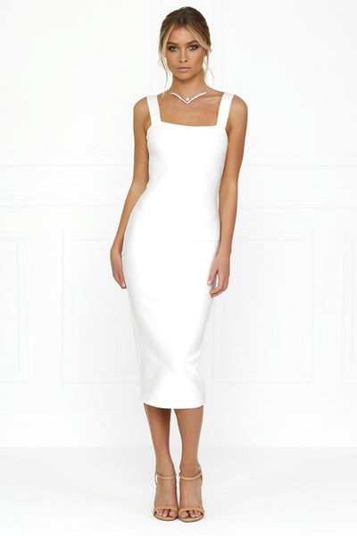 Honey Couture KAYLA White Thick Strap Midi Bandage Dress