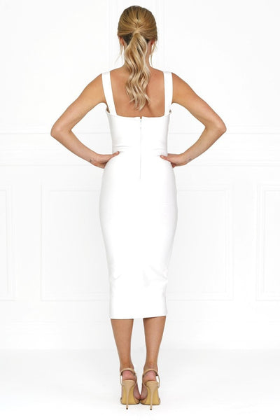 Honey Couture White Thick Strap Midi Bandage Dress , Bandage Dress Honey Couture, One Honey Boutique  Australian Online Store - 4