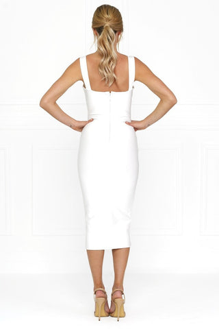Honey Couture KAYLA White Thick Strap Midi Bandage Dress Honey Couture One Honey Boutique AfterPay ZipPay OxiPay Laybuy Sezzle Free Shipping
