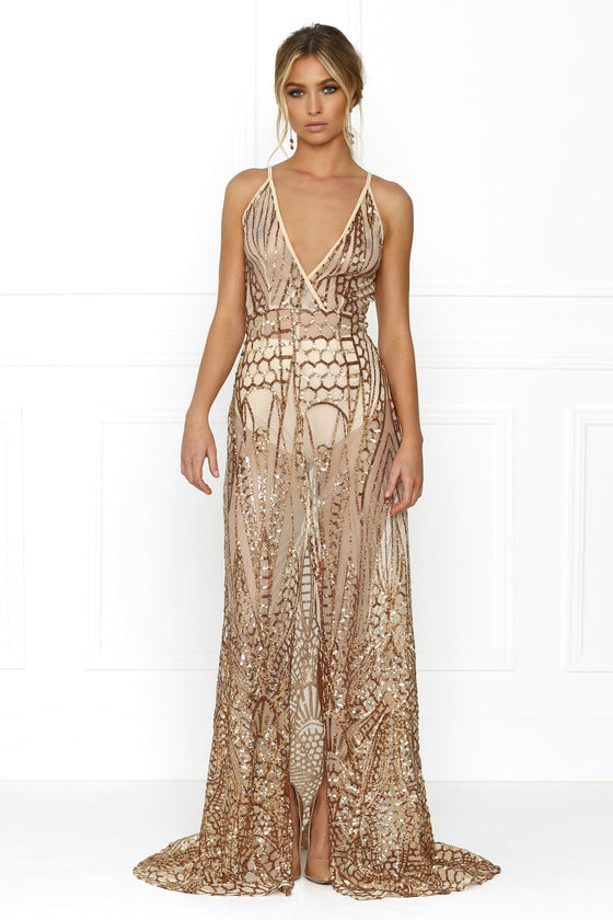 Honey Couture SIENA Rose Gold Sheer Sequin w Split Evening Gown Dress Honey Couture One Honey Boutique AfterPay ZipPay OxiPay Laybuy Sezzle Free Shipping