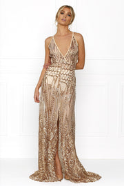 Honey Couture SIENA Rose Gold Sheer Sequin w Split Evening Gown Dress Honey Couture$ AfterPay Humm ZipPay LayBuy Sezzle