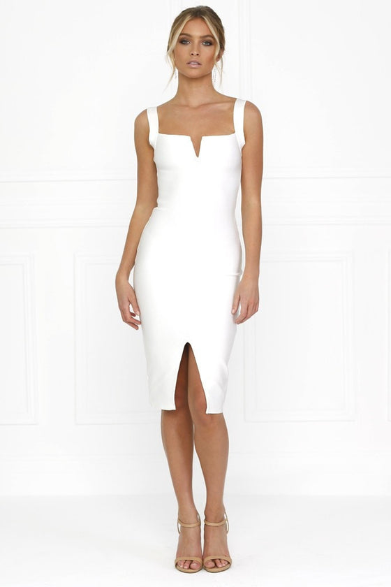 Honey Couture SONIA White Thick Strap w V Midi Bandage Dress Honey Couture One Honey Boutique AfterPay ZipPay OxiPay Laybuy Sezzle Free Shipping