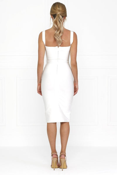 Honey Couture SONIA White Thick Strap w V Midi Bandage Dress