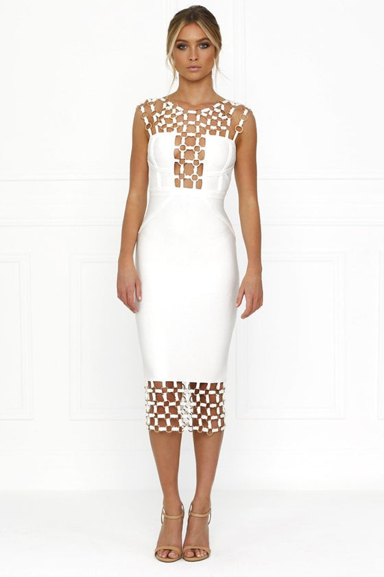 Honey Couture HAYLEE White Chain Bandage Dress Honey Couture One Honey Boutique AfterPay ZipPay OxiPay Laybuy Sezzle Free Shipping