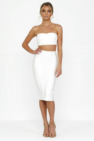 Honey Couture LYDIA White Bandeau Crop Top & Bandage Pencil Skirt Set