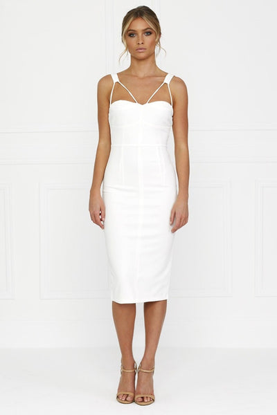 Honey Couture White Bustier Straps Midi Dress