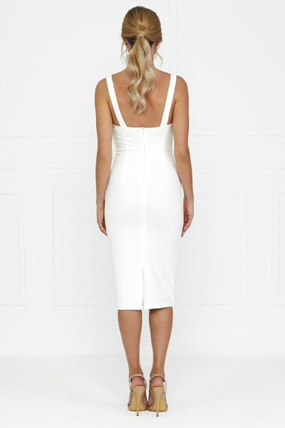 Honey Couture White Bustier Straps Midi Dress , Dress Honey Couture, One Honey Boutique  Australian Online Store - 6