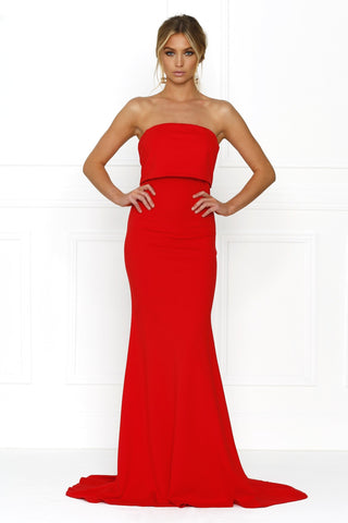 Honey Couture RHIANA Red Strapless Bandeau Cropped Evening Gown Dress Honey Couture One Honey Boutique AfterPay ZipPay OxiPay Sezzle Free Shipping