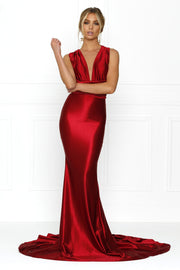 Honey Couture BLOSSUM Red Multi Tie Evening Gown Dress Honey Couture$ AfterPay Humm ZipPay LayBuy Sezzle