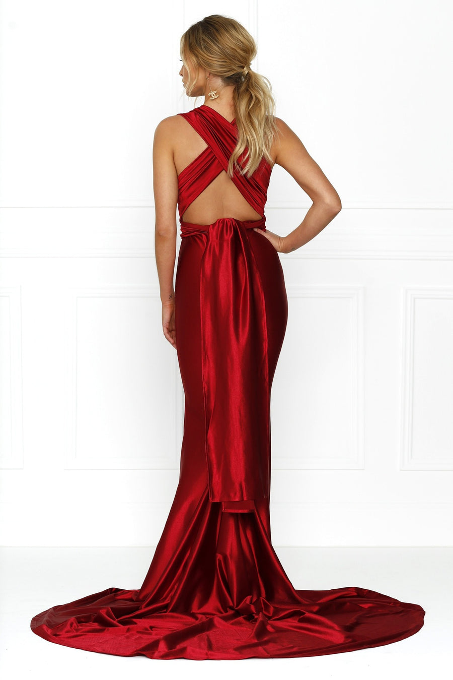 Honey Couture BLOSSUM Red Multi Tie Evening Gown Dress Australian Online Store One Honey Boutique AfterPay ZipPay