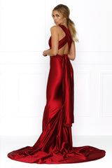 Honey Couture BLOSSUM Red Multi Tie Evening Gown Dress