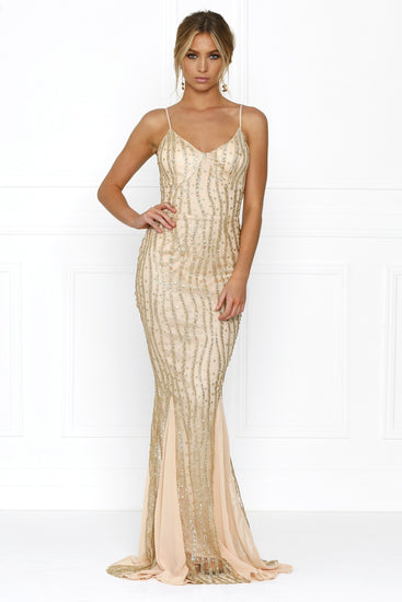 Honey Couture BRIELLE Gold Sheer Sequin w Sheer Insert Evening Gown DressHoney CoutureOne Honey Boutique AfterPay OxiPay ZipPay