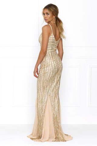 Honey Couture BRIELLE Gold Sheer Sequin w Sheer Insert Evening Gown Dress Australian Online Store One Honey Boutique AfterPay ZipPay