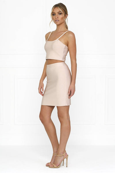 Honey Couture ELLIE Pink Crop Top & Bandage Pencil Skirt Set w Collar