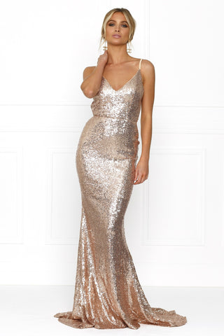 Honey Couture ELIZABETH Rose Gold Low Back Sequin Formal Gown Dress Australian Online Store One Honey Boutique AfterPay ZipPay