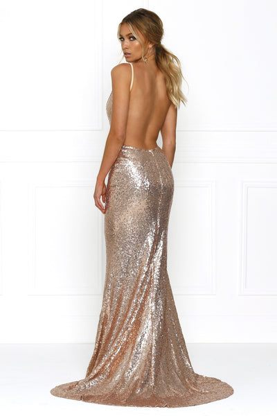 Honey Couture ELIZABETH Rose Gold Low Back Sequin Formal Gown Dress