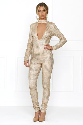Honey Couture GLITA Gold Deep V Front Jumpsuit Honey Couture One Honey Boutique AfterPay ZipPay OxiPay Sezzle Free Shipping