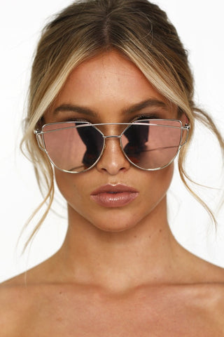 Honey Couture KOURTNEY Rose Gold Pink Mirror Sunglasses