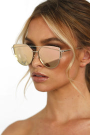 Honey Couture KOURTNEY Rose Gold Pink Mirror Sunglasses Honey Couture Sunglasses$ AfterPay Humm ZipPay LayBuy Sezzle