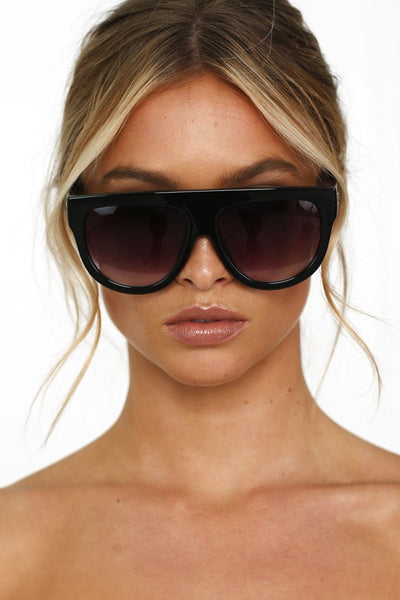 Honey Couture SELENA Black Flat Top Inspired Sunglasses Australian Online Store One Honey Boutique AfterPay ZipPay