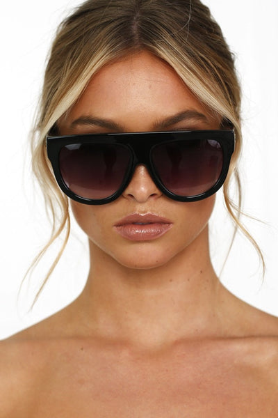 Celeb Style Black Flat Top Inspired Sunglasses