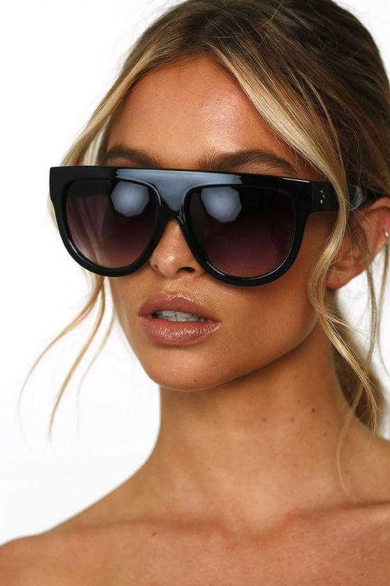 Honey Couture SELENA Black Flat Top Inspired Sunglasses Honey Couture One Honey Boutique AfterPay ZipPay OxiPay Laybuy Sezzle Free Shipping