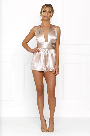 Honey Couture LORISA Dusty Pink Multi Tie Playsuit Australian Online Store One Honey Boutique AfterPay ZipPay