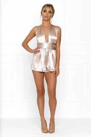 Honey Couture LORISA Dusty Pink Multi Tie Playsuit