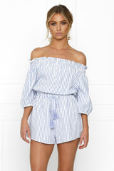 Honey Couture SALLY Off Shoulder Blue White Stripe Tassle Playsuit Australian Online Store One Honey Boutique AfterPay ZipPay
