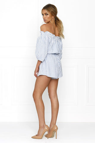 Honey Couture SALLY Off Shoulder Blue White Stripe Tassle Playsuit Honey Couture One Honey Boutique AfterPay ZipPay OxiPay Sezzle Free Shipping