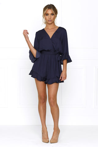 Honey Couture BELINDA Frill Dark Blue Tie Playsuit
