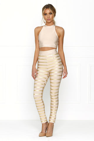 Honey Couture LAYLA Pink Cut Out Crop Top & Pink Gold Stripe Bandage Pant Set Australian Online Store One Honey Boutique AfterPay ZipPay