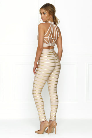 Honey Couture LAYLA Pink Cut Out Crop Top & Pink Gold Stripe Bandage Pant Set