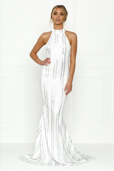 Honey Couture SARA Sequin White Mermaid Halter Gown Dress