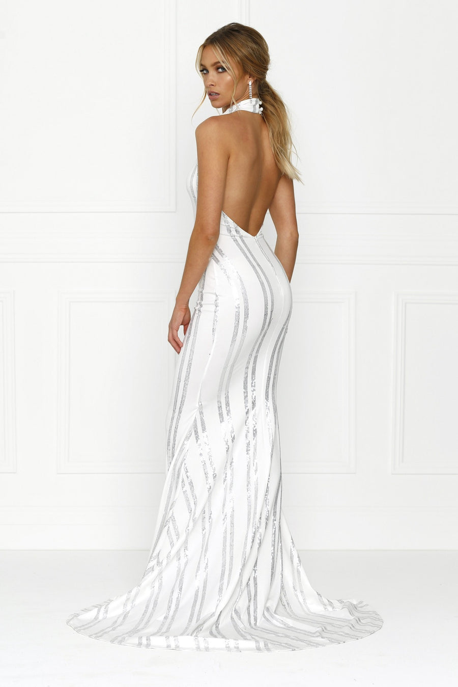 Honey Couture SARA Sequin White Mermaid Halter Gown Dress Australian Online Store One Honey Boutique AfterPay ZipPay