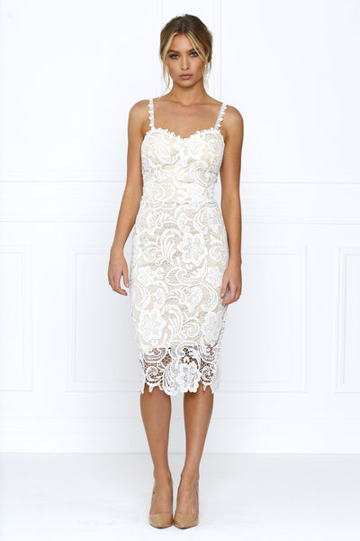 Honey Couture LACE LOVER Nude & White Thin Strap Midi Dress