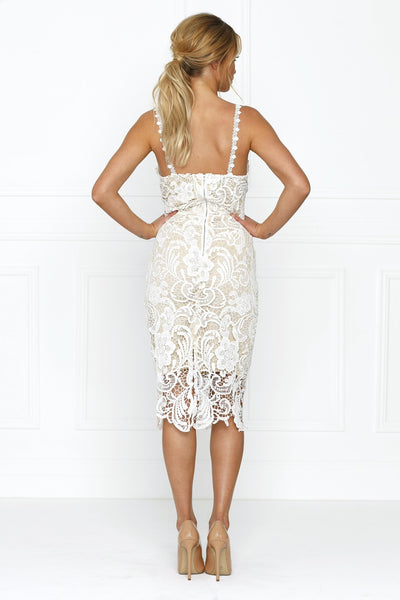 Honey Couture Nude & White Thin Strap Lace Lover Midi Dress , Dress Honey Couture, One Honey Boutique  Australian Online Store - 4