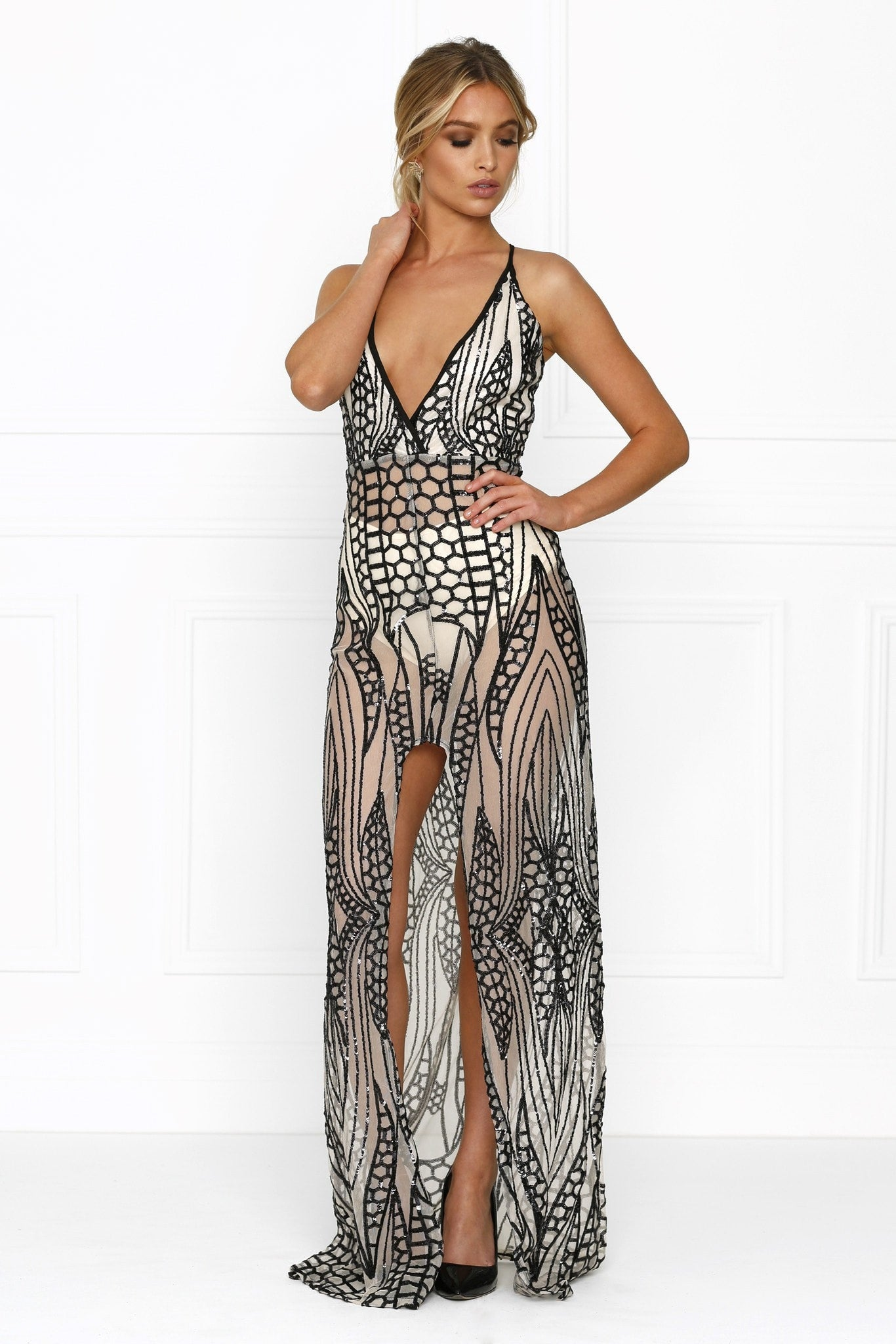 Honey Couture Nude Black Crystal Sequin Maxi Formal Gown