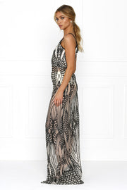 Honey Couture GWEN Nude Black Crystal Sequin Maxi Formal Gown Honey Couture$ AfterPay Humm ZipPay LayBuy Sezzle