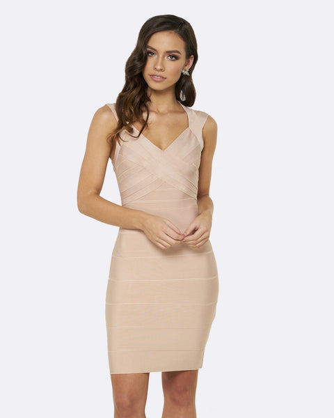 Honey Couture Nude JANE Bandage Dress
