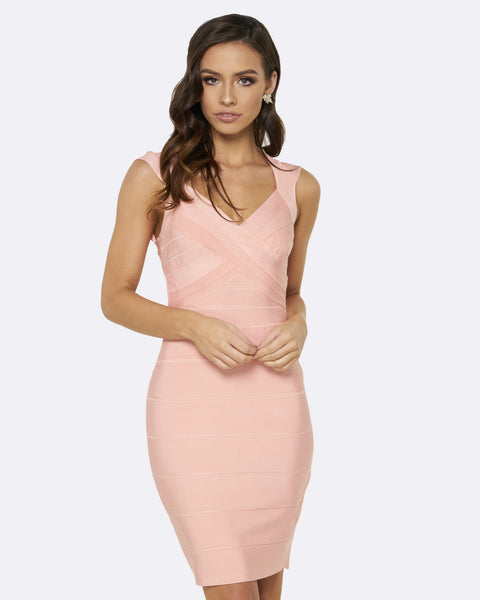 Honey Couture Peach JANE Bandage Dress