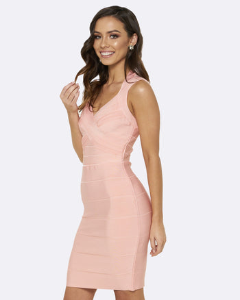 Honey Couture Peach JANE Bandage Dress Australian Online Store One Honey Boutique AfterPay ZipPay