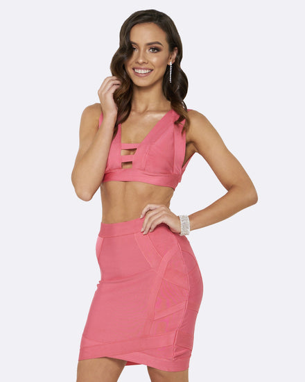Honey Couture Rose JESSIE Crop Top & Bandage Skirt SetHoney CoutureOne Honey Boutique AfterPay OxiPay ZipPay