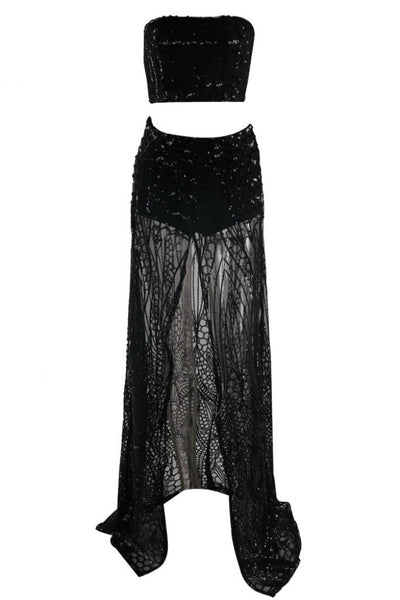 Honey Couture MIKA Black Sequin Crop & Maxi Skirt Set Australian Online Store One Honey Boutique AfterPay ZipPay