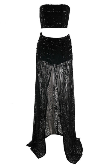 Honey Couture MIKA Black Sequin Crop & Maxi Skirt SetHoney CoutureOne Honey Boutique AfterPay OxiPay ZipPay