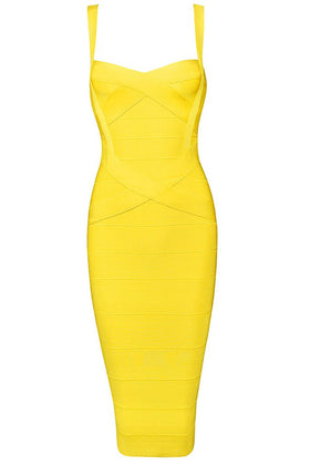 Honey Couture LEONIE Yellow Midi Bandage DressHoney CoutureOne Honey Boutique AfterPay OxiPay ZipPay