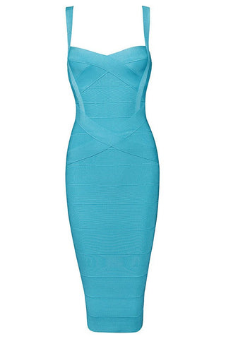 Honey Couture LEONIE Green/Blue Midi Bandage Dress Honey Couture One Honey Boutique AfterPay ZipPay OxiPay Sezzle Free Shipping