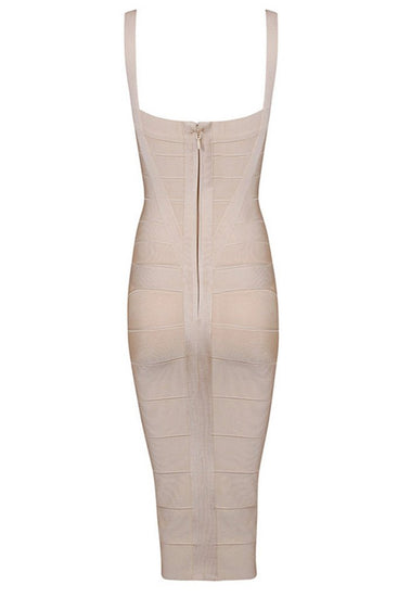 Honey Couture LEONIE Apricot Midi Bandage DressHoney CoutureOne Honey Boutique AfterPay OxiPay ZipPay