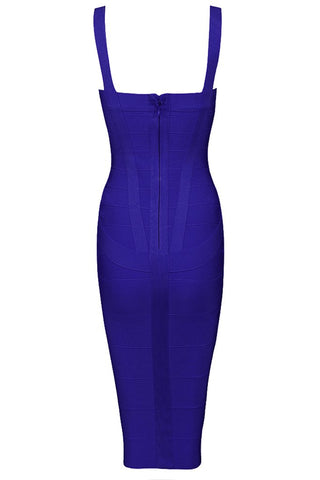 Honey Couture LEONIE Dark Blue Midi Bandage Dress Honey Couture One Honey Boutique AfterPay ZipPay OxiPay Sezzle Free Shipping